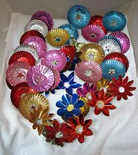 Vintage Lot 58 Christmas Light Reflectors Color Foil Crinkle Rounds Flower T25