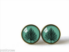 Retro Style Handmade Glass Dome Stud Earrings, Little Tree, A-225