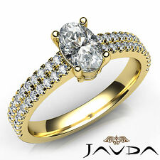 Oval Diamond Engagement GIA F Color VS2 U Cut Prong Set Ring 18k Yellow Gold 1Ct