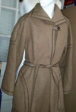 FAB 1970s Vintage Taupe Long Mid Calf Winter Wrap Coat Wool Belted Womens Medium