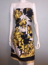 Max And Cleo Satin Yellow Floral Print White Black Strapless Dress Size 12