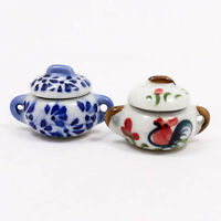 Cute Painted 25x40mm Pot Cooking Dollhouse Miniature Ceramic Food Supply A1178