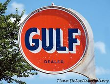 Vintage Gulf Gas Station Sign in East Texas - Giclee Photo Print