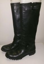 Via Spiga Black Leather Moto Boots size 7
