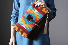 Southwestern Indian Wool leather cross body bag fold over clutch HANDMADE