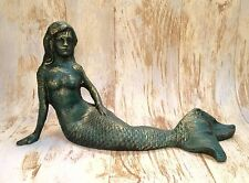 "Cast Iron Verdigris 12"" Vintage Mermaid Nautical Statue"