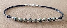 Dalmatian Jasper 4mm Beads, Leather Cord, Silver Plated, Friendship Bracelet