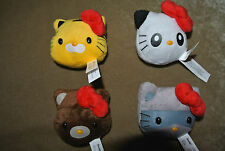 HELLO KITTY Safari Bus Juggler Bean Bag Plush Set of 4 Panda Bear Cat Raccon