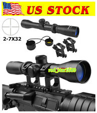 US 2-7x32 Optics Pistol Rifle Scope Long Eye Relief 350mm W/Mount For Hunting