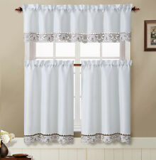 Julian White Taupe Embroidered Kitchen Curtain Tiers Valance Set