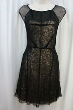 Betsey Johnson Dress Sz 8 Black Gold Sequined Sleeveless Cocktail Party Dress