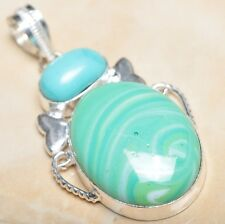 "Handmade Sparkling Dichroic Glass 925 Sterling Silver Pendant 2.25"" #P08920"