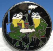 "SCARCE! 1940s ANTIQUE FRENCH CHAMPLEVE ENAMEL""FROGS SMOKING-DRINKING""VTG. BUTTON"