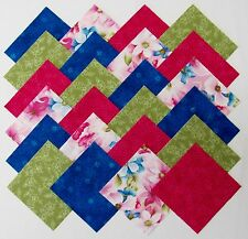"""40 4"""" FLORAL FLARE Fabric Quilt Squares Quilting Pink Aqua Blue Flower Material"""