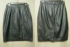 "G lll Vtg 80s/90s Straight/Pencil Skirt Sz 8/7 x L-22"" Black Leather Sexy,Lined"