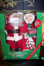 Holiday Creations Animated & Talking Mr & Mrs Santa Claus On Bench Christmas