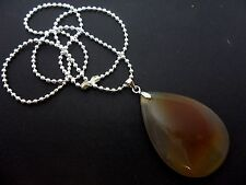 "A PRETTY  POLISHED STONE TEARDROP PENDANT NECKLACE. NEW. 18"" BALL CHAIN."