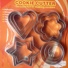 DIY 12PC Stainless Star/Heart/Flower Cookie Cutter Shape Cake Biscuit Fruit Mold