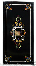 "24""x36"" Black Marble Dining Center Table Top Mosai Gems Inlay Marquetry Art H503"