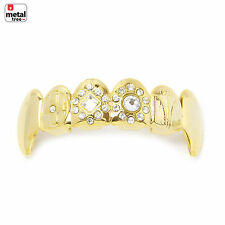 Vampire GRILLZ Stone Fangs 14k Gold Plated Top Upper Teeth Fang Dracula L021G