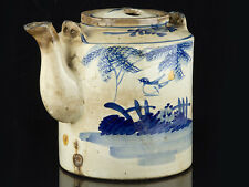 c1850 Chinese Blue and White Street Vendors Large Teapot