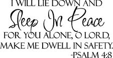 SLEEP IN PEACE Bible Verse Wall Decal Quote Words Lettering Decor Inspiration 36