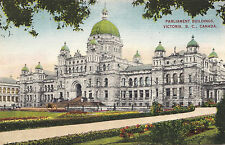 Parliament Buildings VICTORIA British Colombia Canada 1930-40s Coast Postcard