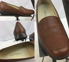 "Trotters Pumps Shoes Sz 9.5 S ""Jess"" Brown Leather Mint Made In Brazil YGI M"