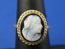 VINTAGE 14K YELLOW GOLD AGATE CAMEO RING SIZE 4.75