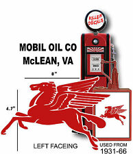 "(MOBI-2) 8"" MOBIL LEFT FACING PEGASUS GASOLINE GAS PUMP OIL TANK DECAL"