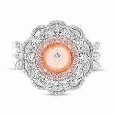 2.22 TCW 18K Multi Tone Gold Natural Fancy Pink Round Diamond Semi Mount Ring