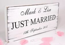 Personalised Just Married Free Standing Vintage Wedding Sign Shabby but Chic