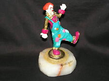 RONALD RON A LEE CLOWN BALANCING ON ONE FOOT SCULPTURE SIGNED 2001 GOLD PLATE
