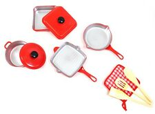 "Kitchen Cookware Playset For Kids 10 Piece Set Mini Cooking Toy 5""-7"" Inches"