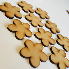 Pack of 10 x 50mm MDF Wooden Cloud Flowers Shapes Decor