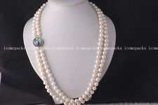 "2rows  white round 9-10mm freshwater pearl necklace 23-24"" nature wholesale bea"
