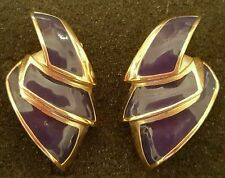 Vintage Givenchy architectural pierced blue enamel earrings J46