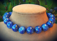 GENUINE LAPIS LAZULI ALL NATURAL GEMSTONE NECKLACE BLUE GOLD PYRITE FOOL'S GOLD