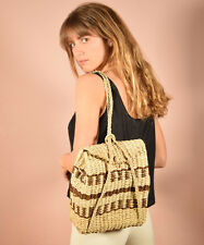 Vtg natural + cocoa MEXICAN woven WICKER basket strucural resort backpack purse
