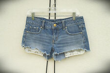 NWOT American Eagle Hot Mini Denim Short Shorts Exposed Silver Stars Pockets 2