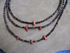 "3 strand Penshell Heishi with Coral Necklace 23"" Santo Domingo"