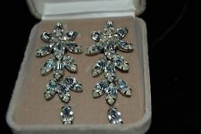 Vintage 90's FARRAH FAWCETT Silver-Tone Dangle Clip Earrings Rhinestones Boxed