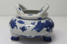 Vintage Chinese Porcelain Incense Burner Censer Signed w/ Dragon Decorations, 4""