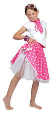 Childrens Pink Rock 'N' Roll Skirt Fancy Dress Grease Girls 50s Costume Kids