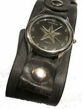 new! BLaCK-STAR WATCH BLaCK FaDED LEAtHER CUFF Nemesis pUNK ROCK