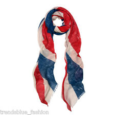 Large Vintage One UK British Flag Union Jack Print Scarf Shawl Wrap