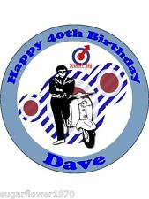 Personalised scooter boy music lambretta edible icing birthday cake topper round