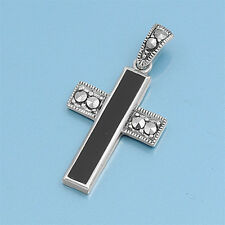 Black Cross with Marcasite Pendant Sterling Silver 925 Vintage Style Jewelry