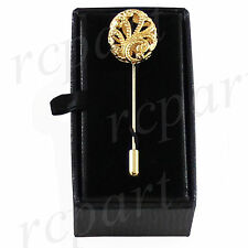 New in box Men's Suit brooch chest metal oval shape Gold lapel pin formal