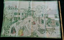 Vtg Embroidery Finished Horse Floral Buggy Primitive Folk Art Church Main Street
